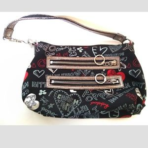 Coach Black Graffiti Poppy Purse Story Patch Small